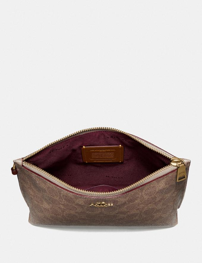 Coach Charlie Pouch in Colorblock Signature Canvas Brass/Tan Rust Women Small Leather Goods Wristlets Alternate View 1
