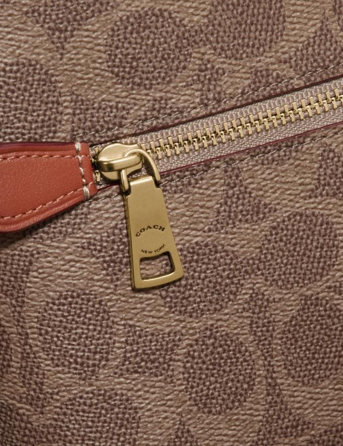 Coach Charlie Pouch in Colorblock Signature Canvas Brass/Tan Rust Women Small Leather Goods Wristlets Alternate View 3
