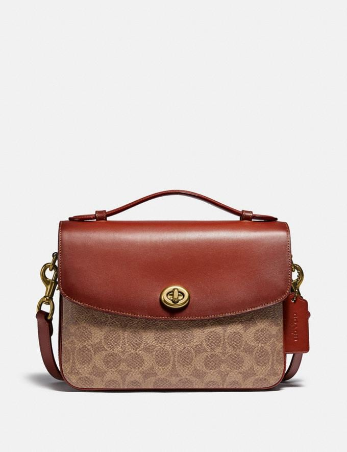 Coach Cassie Crossbody in Signature Canvas Tan/Rust/Brass Women Handbags Crossbody Bags