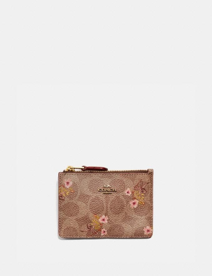 Coach Mini Skinny Id Case in Signature Canvas With Floral Bow Print Tan/Brass New Featured Signature Styles