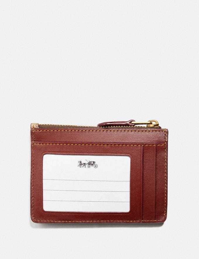 Coach Mini Skinny Id Case in Signature Canvas With Floral Bow Print Tan/Brass New Featured Signature Styles Alternate View 1