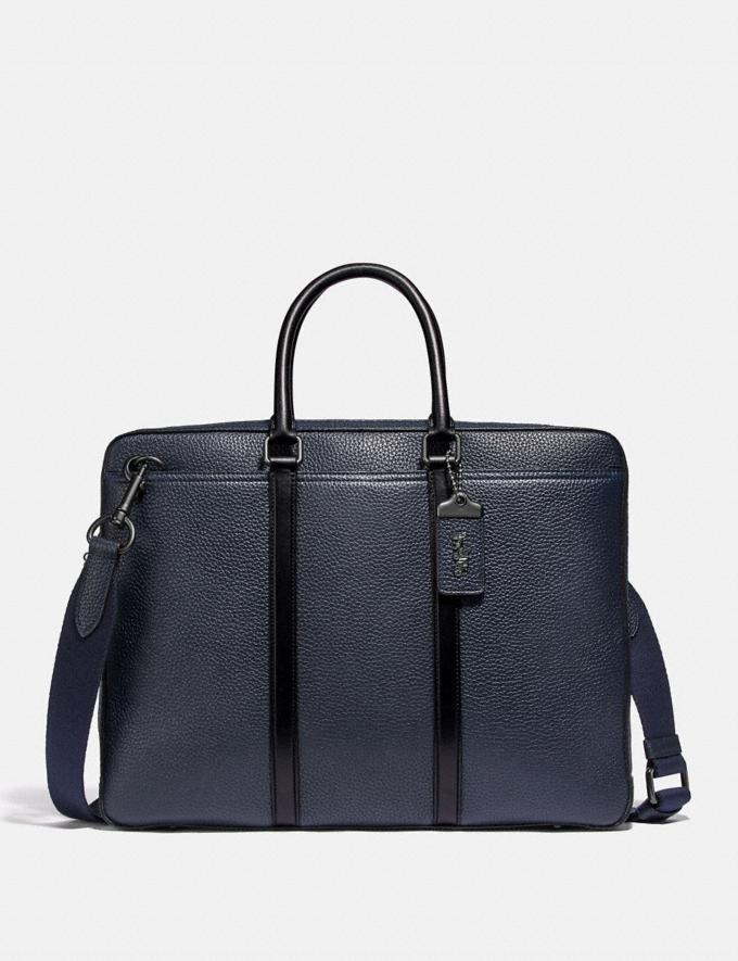 Coach Metropolitan Slim Brief Black Copper/Midnight Navy/Black Men Bags Briefcases