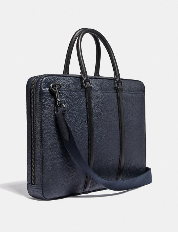 Coach Metropolitan Slim Brief Black Copper/Midnight Navy/Black Men Bags Briefcases Alternate View 1