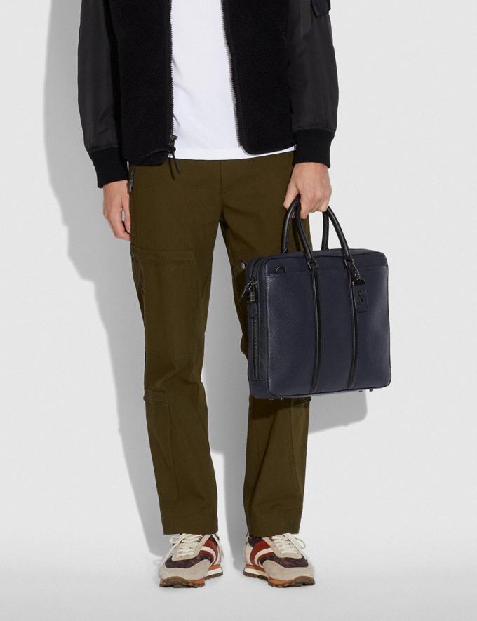 Coach Metropolitan Slim Brief Black Copper/Midnight Navy/Black Men Bags Alternate View 4