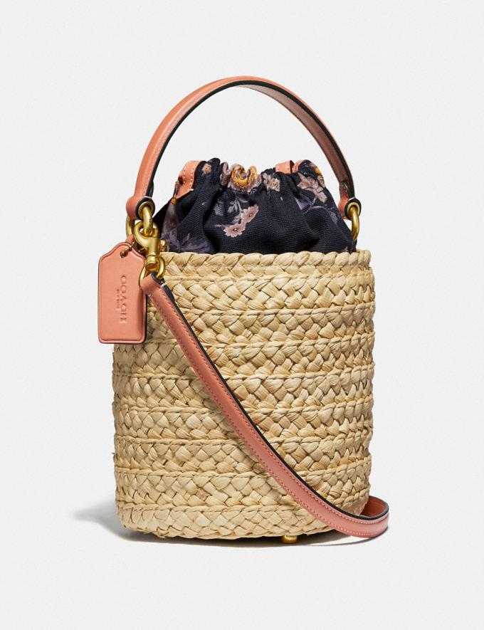 Coach Drawstring Bucket Bag Straw/Light Peach/Brass Gifts For Her Bestsellers Alternate View 1