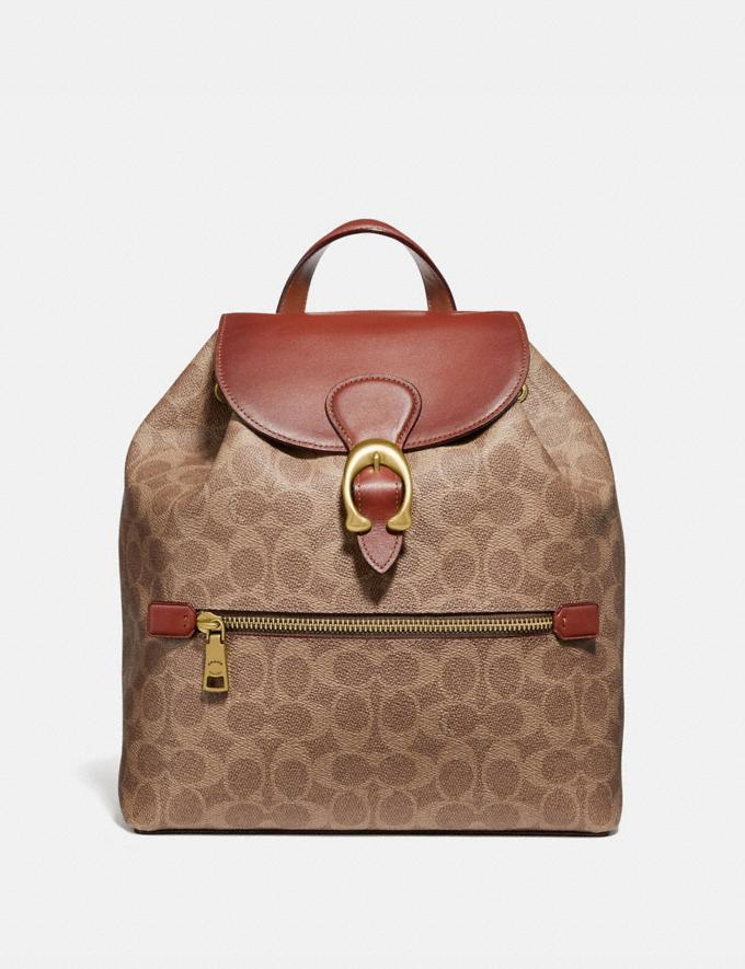 Coach Evie Backpack in Signature Canvas Tan/Rust/Brass New Women's Trends Summer Picks