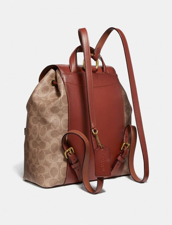 Coach Evie Backpack in Signature Canvas Tan/Rust/Brass New Women's Trends Summer Picks Alternate View 1