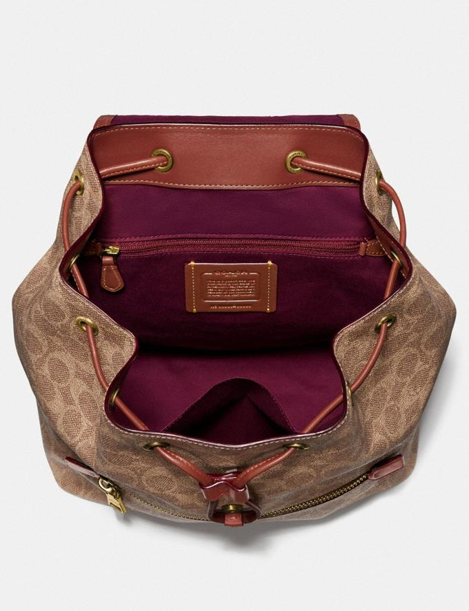 Coach Evie Backpack in Signature Canvas Tan/Rust/Brass New Women's Trends Summer Picks Alternate View 2