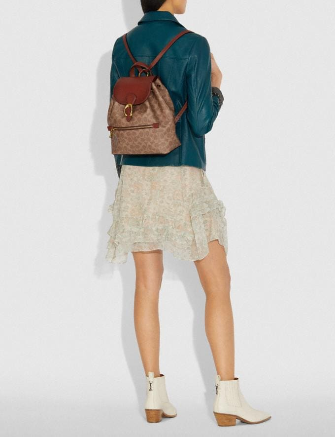 Coach Evie Backpack in Signature Canvas Tan/Rust/Brass New Women's Trends Summer Picks Alternate View 3