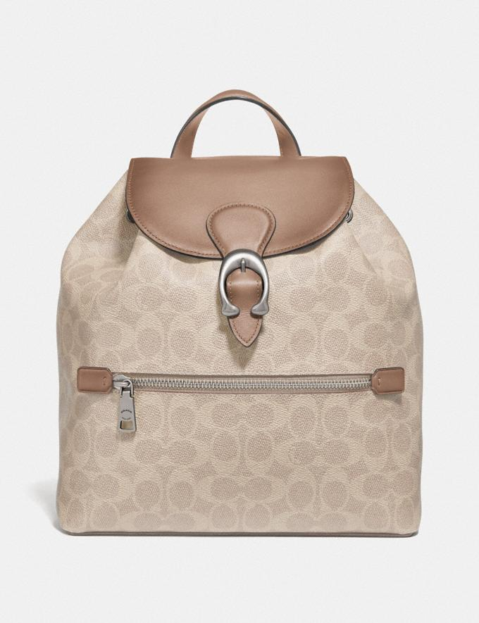 Coach Evie Backpack in Signature Canvas Lh/Sand Taupe Women Bags Backpacks