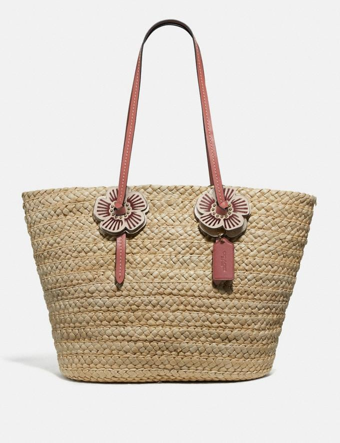 Coach Woven Tote With Tea Rose Straw/Light Peach/Brass Women Bags Totes