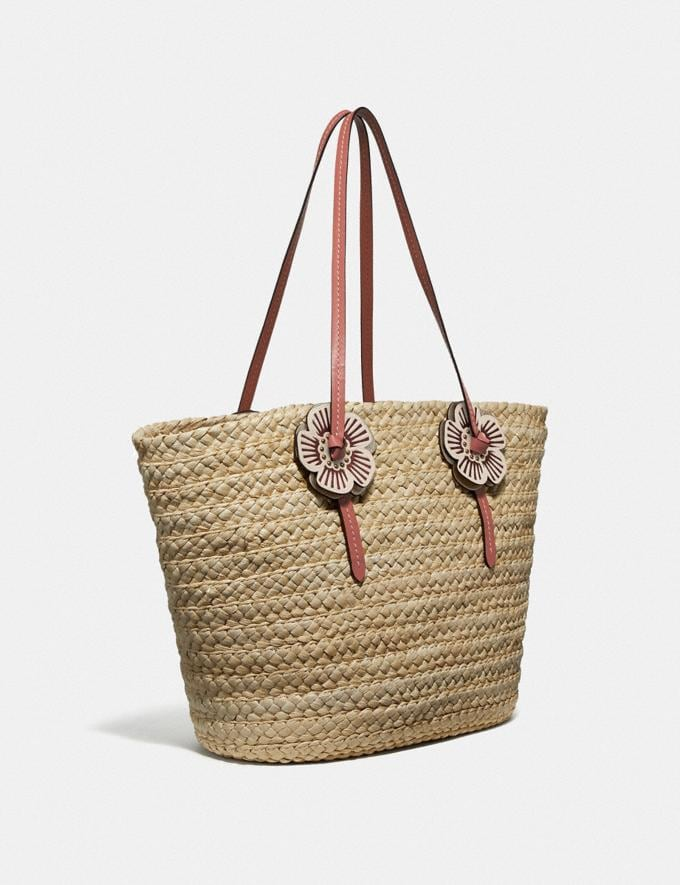 Coach Woven Tote With Tea Rose Straw/Light Peach/Brass Women Bags Totes Alternate View 1