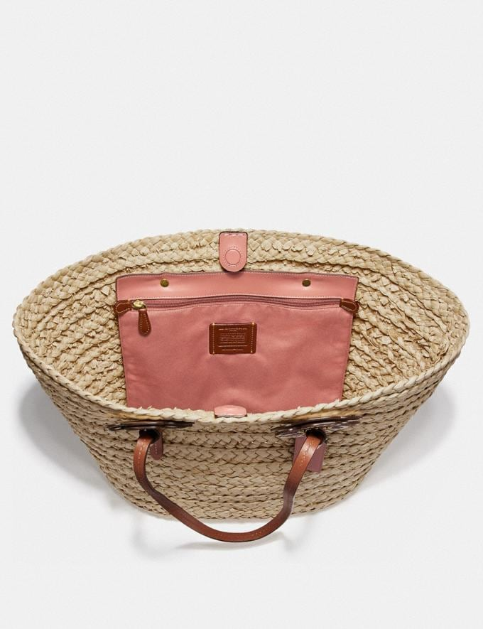 Coach Woven Tote With Tea Rose Straw/Light Peach/Brass Women Bags Totes Alternate View 2