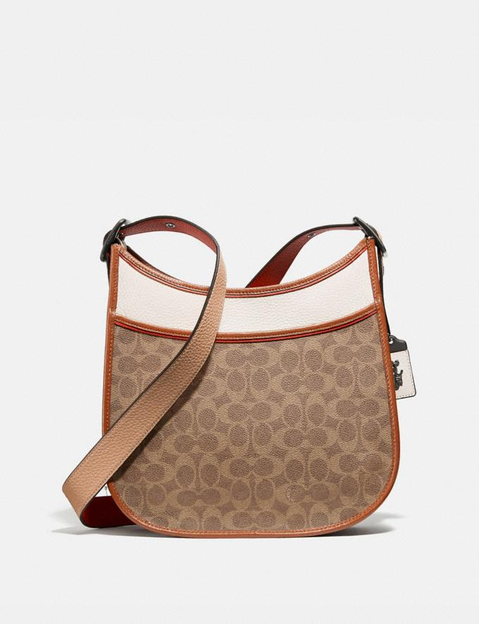 Coach Emery Crossbody in Colorblock Signature Canvas Pewter/Tan Chalk Multi Women Collection Signature