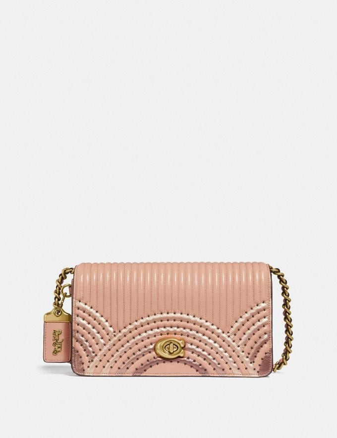 Coach Dinky With Colorblock Deco Quilting and Rivets Nude Pink Multi/Brass New Featured Online Exclusives