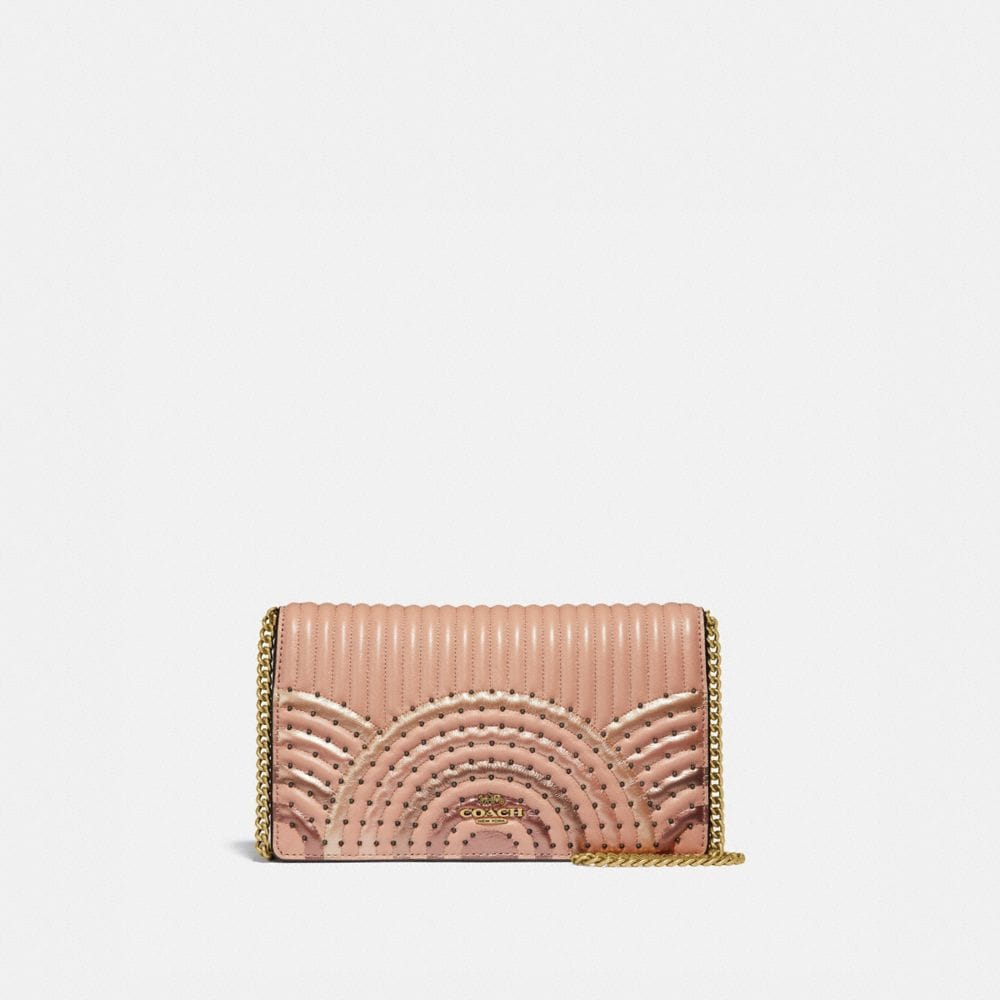 CALLIE FOLDOVER CHAIN CLUTCH WITH COLORBLOCK DECO QUILTING AND RIVETS