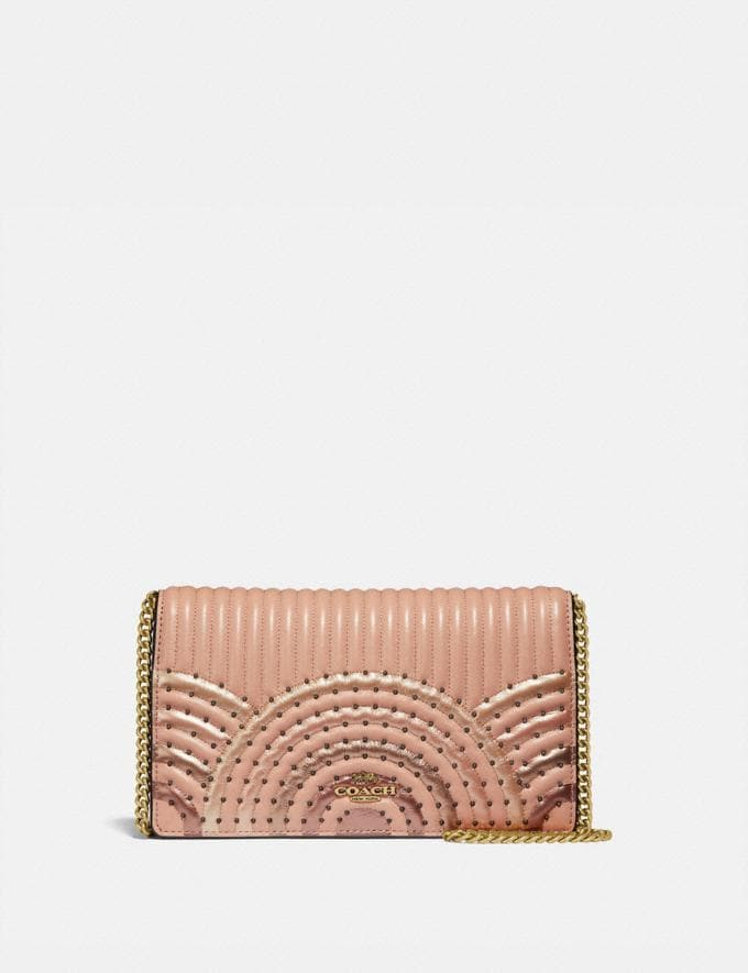 Coach Callie Foldover Chain Clutch With Colorblock Deco Quilting and Rivets Nude Pink Multi/Brass SALE Women's Sale Bags