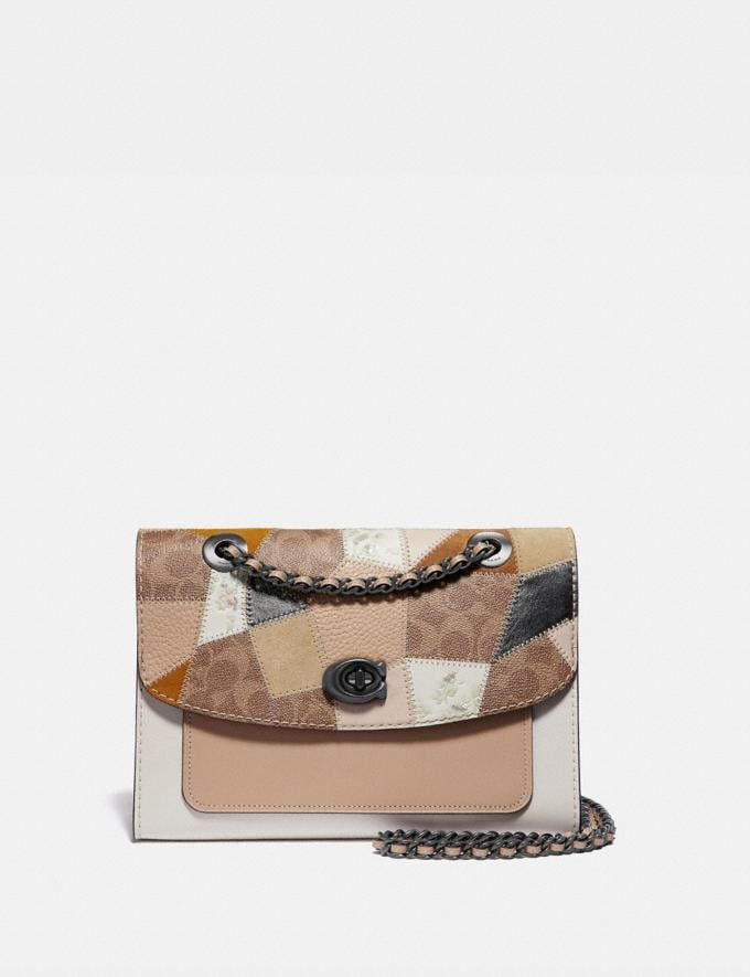 Coach Parker With Signature Patchwork Tan Beechwood Multi/Pewter Women Bags Shoulder Bags