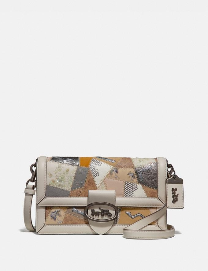 Coach Riley With Signature Patchwork Tan Beechwood Multi/Pewter Women Collection Signature Styles