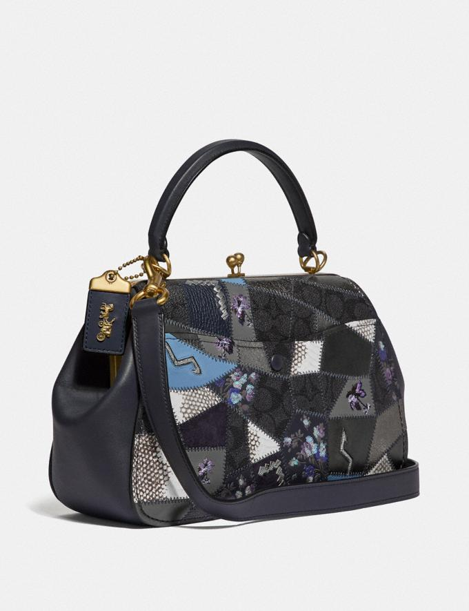 Coach Frame Bag With Signature Patchwork V5/Charcoal Slate Multi  Alternate View 1