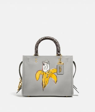 ROGUE 25 COACH X JEAN-MICHEL BASQUIAT CON DETTAGLIO IN PELLE DI SERPENTE