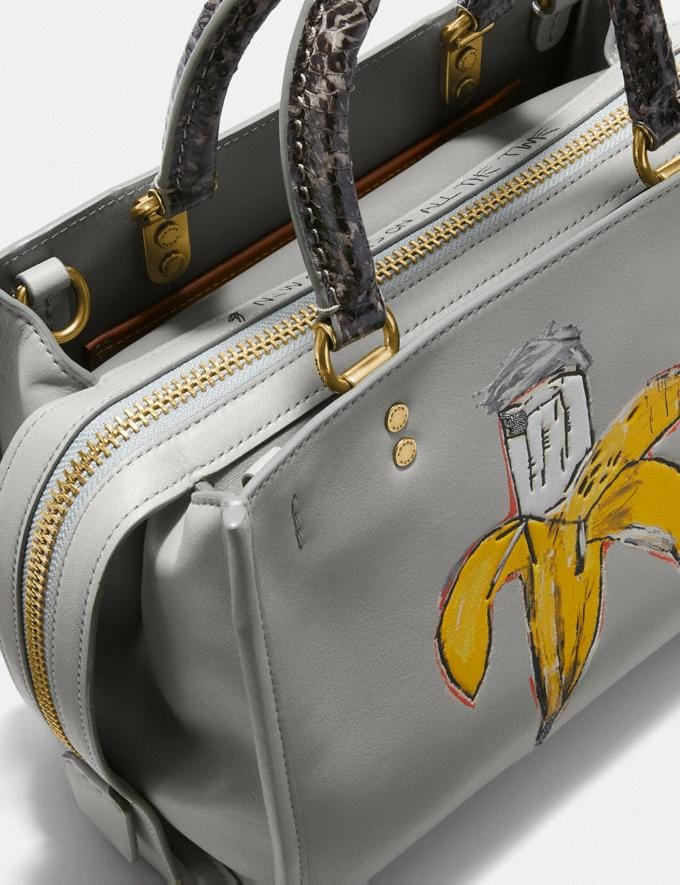 Coach Coach X Jean-Michel Basquiat Rogue 25 With Snakeskin Detail Brass/Cinder Women Edits Coach x Basquiat Alternate View 5