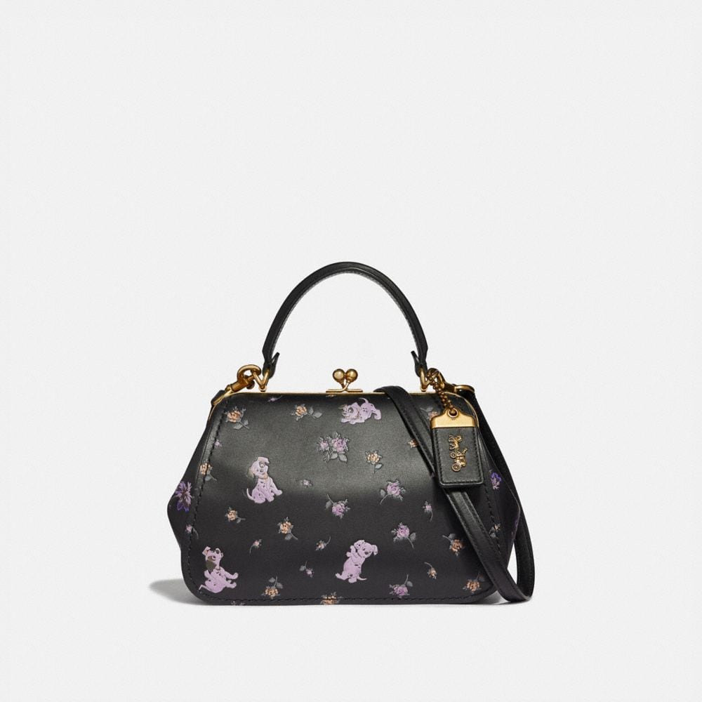 DISNEY X COACH FRAME BAG 23 WITH DALMATIAN FLORAL PRINT