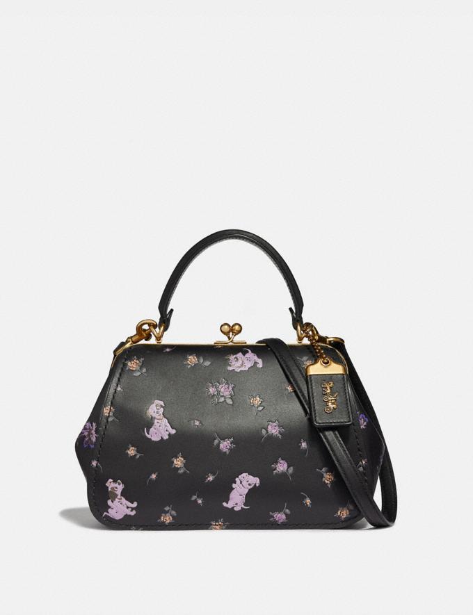 Coach Disney X Coach Frame Bag 23 With Dalmatian Floral Print Black/Brass Women Bags Satchels & Carryalls