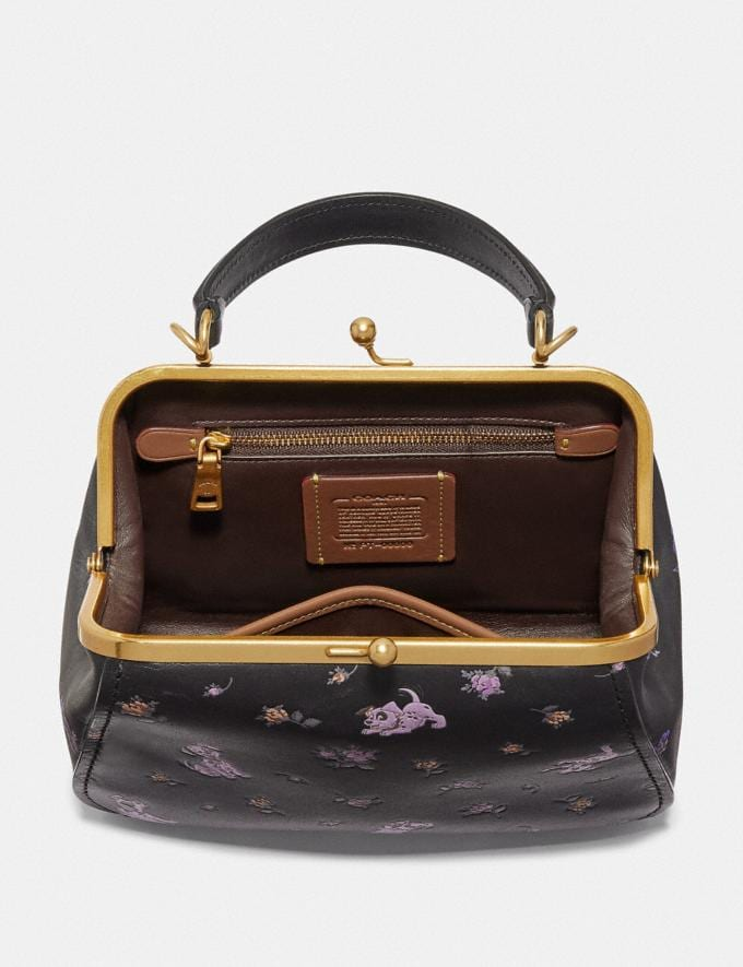 Coach Disney X Coach Frame Bag 23 With Dalmatian Floral Print Black/Brass SALE Women's Sale Bags Alternate View 2