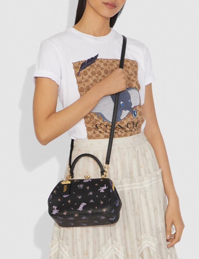 Coach Disney X Coach Frame Bag 23 With Dalmatian Floral Print Black/Brass Women Bags Satchels & Carryalls Alternate View 3