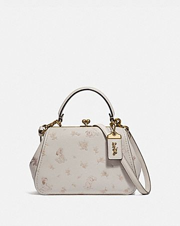 c8a17fc2b41 DISNEY X COACH FRAME BAG 23 WITH DALMATIAN FLORAL PRINT