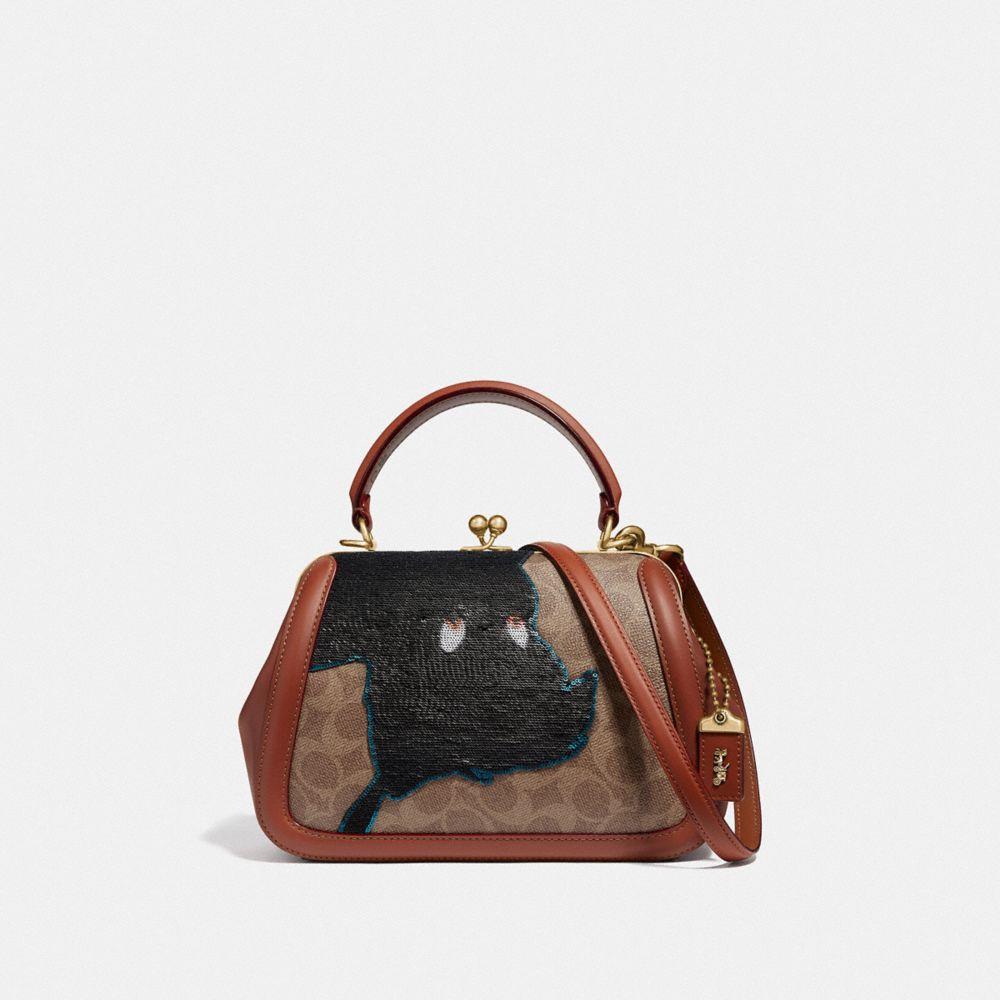 DISNEY X COACH FRAME BAG 23 WITH EMBELLISHED PETER PAN