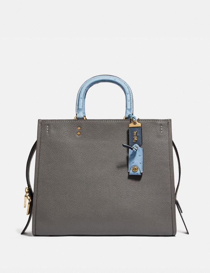 Coach Rogue 36 in Colorblock With Ostrich Detail Heather Grey Multi/Brass Women Bags Shoulder Bags