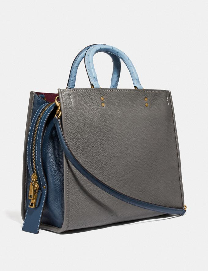 Coach Rogue 36 in Colorblock With Ostrich Detail Heather Grey Multi/Brass Women Bags Shoulder Bags Alternate View 1