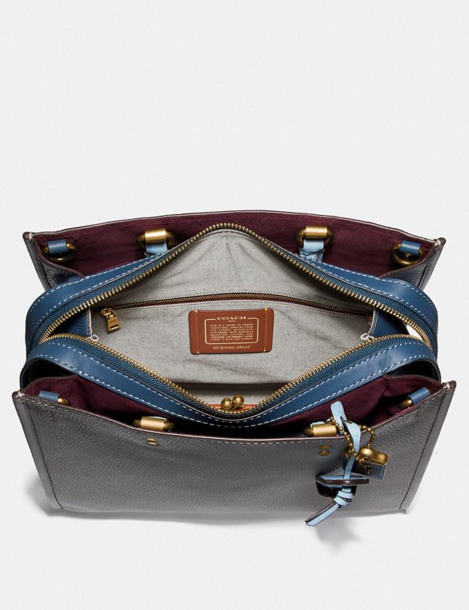 Coach Rogue 36 in Colorblock With Ostrich Detail Heather Grey Multi/Brass Women Bags Shoulder Bags Alternate View 2