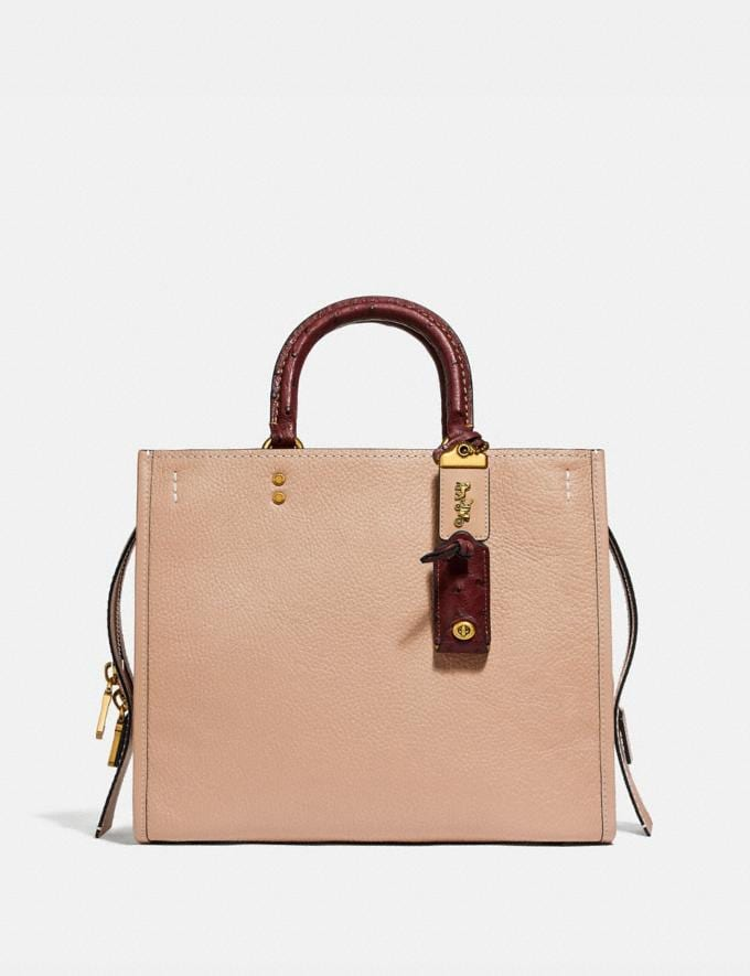 Coach Rogue in Colorblock With Ostrich Detail Beechwood/Brass Women Handbags Shoulder Bags & Hobos