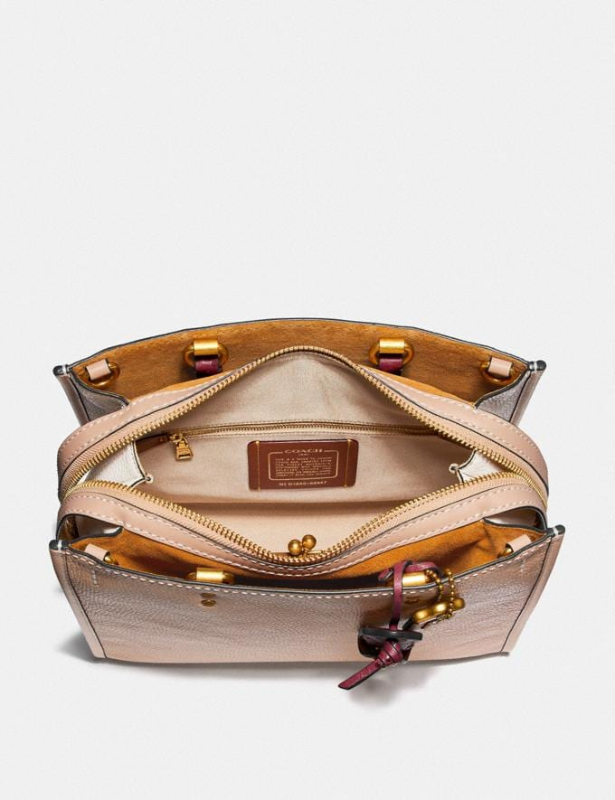 Coach Rogue in Colorblock With Ostrich Detail Beechwood/Brass Women Handbags Shoulder Bags & Hobos Alternate View 2