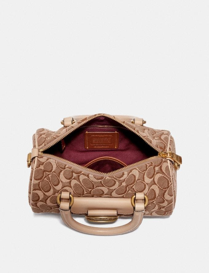 Coach Barrel Bag in Signature Jacquard Tan Light Tan/Brass Women Collection Signature Styles Alternate View 2
