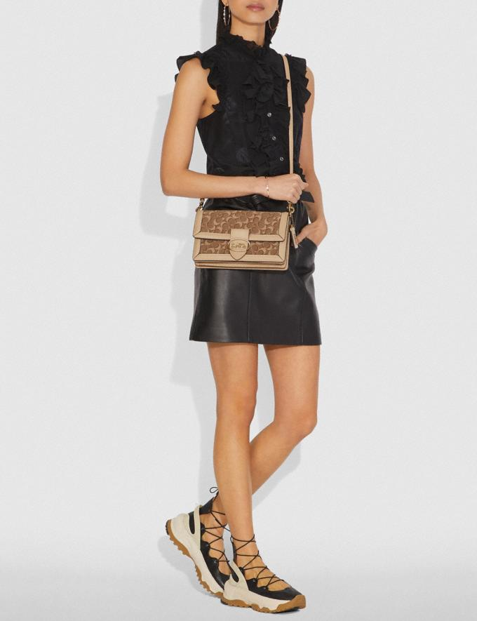 Coach Riley in Signature Jacquard Tan Light Tan/Brass Women Collection Signature Styles Alternate View 3
