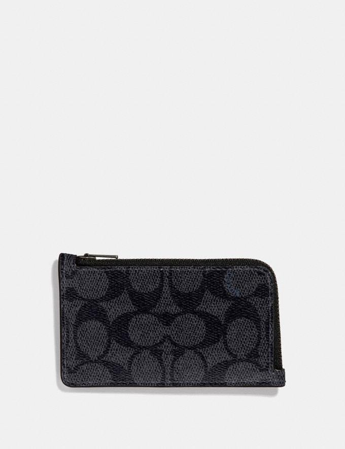 Coach L-Zip Card Case in Signature Canvas Charcoal Women Collection Signature