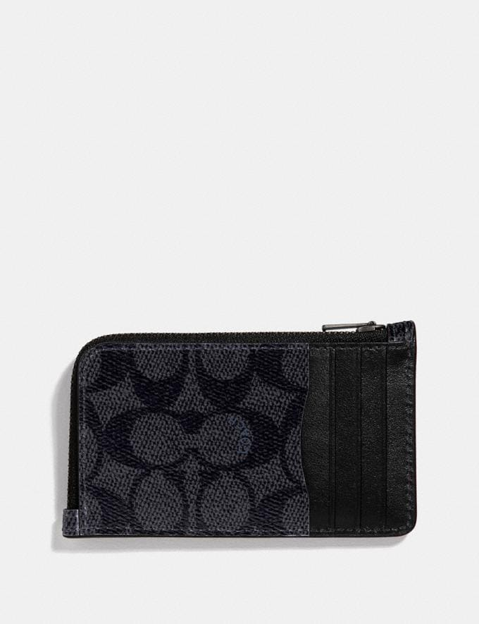 Coach L-Zip Card Case in Signature Canvas Charcoal Gifts For Him Valentine's Day Gifts Alternate View 1