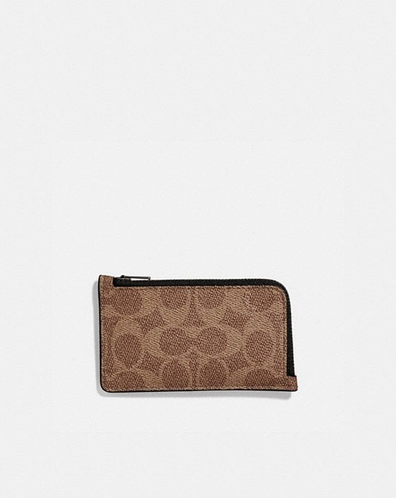 Coach L-ZIP CARD CASE IN SIGNATURE CANVAS