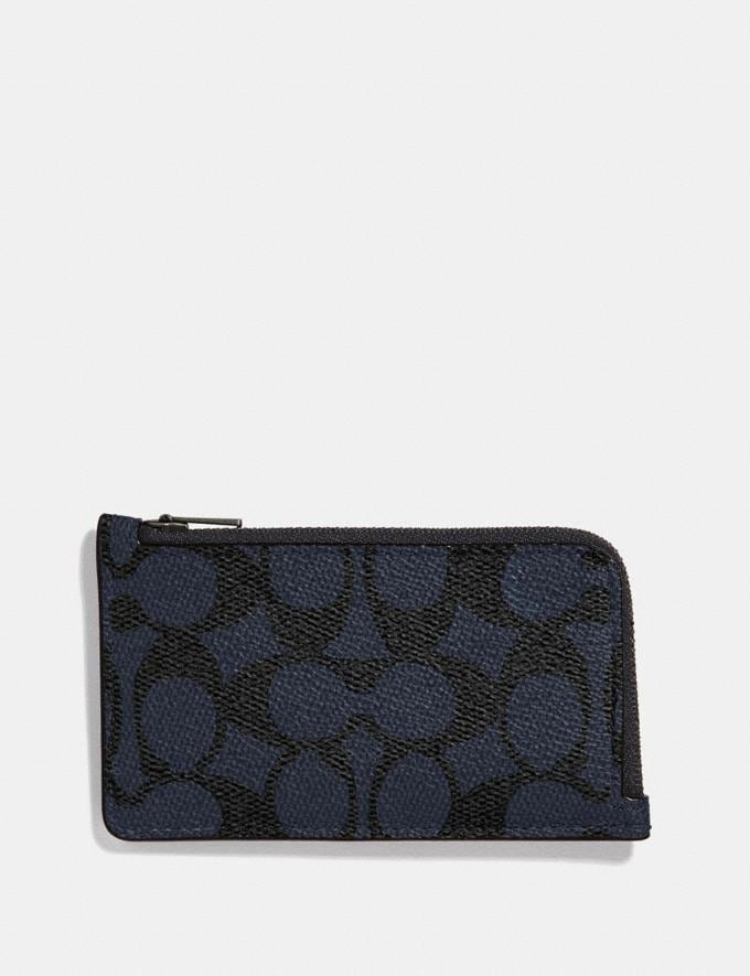 Coach L-Zip Card Case in Signature Canvas Midnight Men Wallets