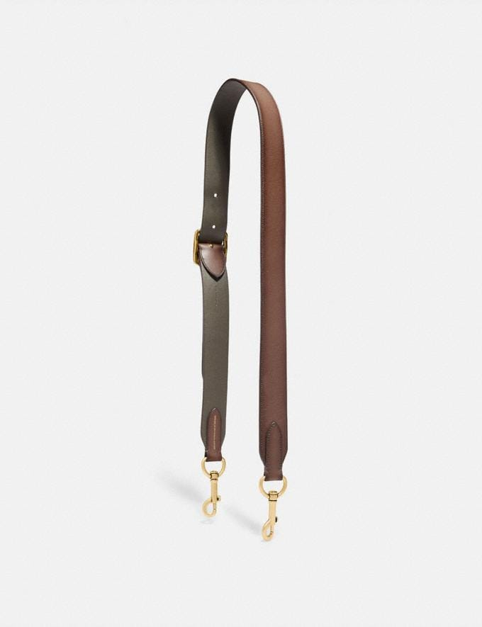 Coach Bag Strap Saddle/Pine/Brass Men Accessories