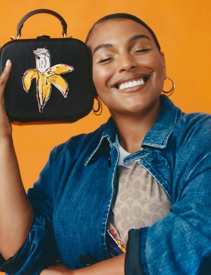 Coach Coach X Jean-Michel Basquiat Square Bag Brass/Black Women Bags Shoulder Bags Alternate View 4