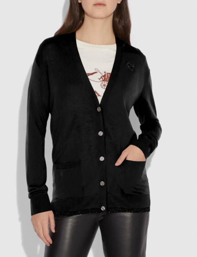 Coach Rexy Patch Cardigan Black SALE Women's Sale Ready-to-Wear Alternate View 1