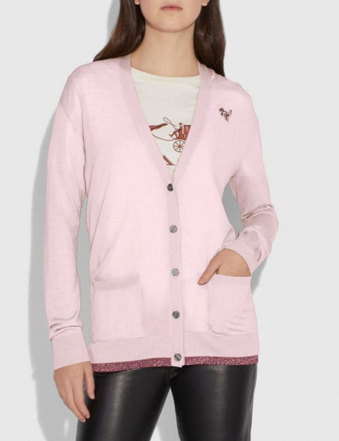 Coach Rexy Patch Cardigan Light Pink SALE Women's Sale Ready-to-Wear Alternate View 1
