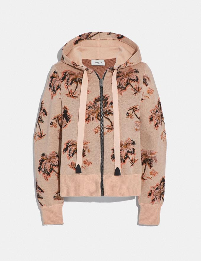 Coach Palm Tree Print Jacquard Hoodie Peach New Women's New Arrivals Ready-to-Wear