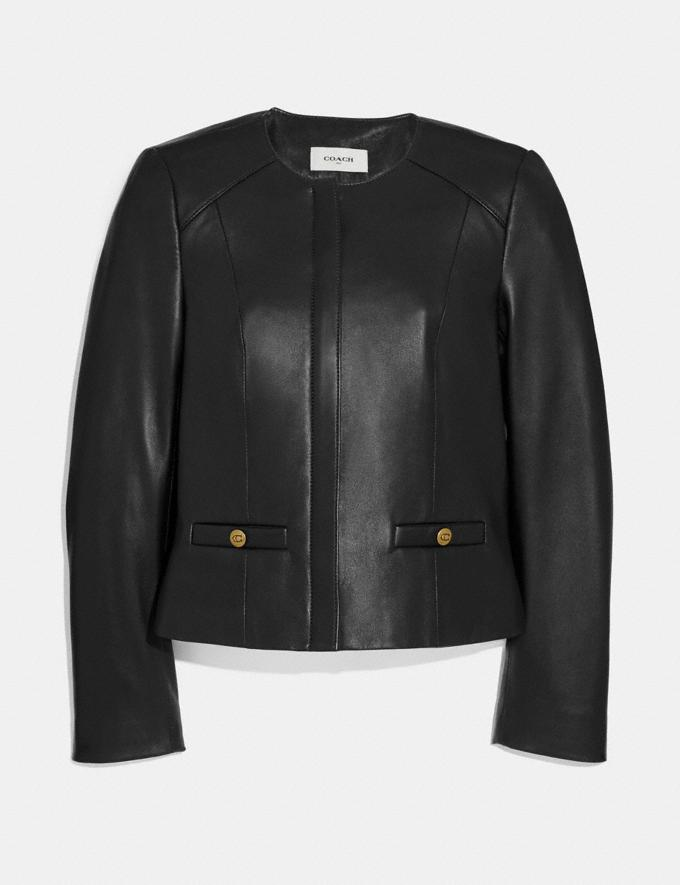 Coach Tailored Leather Jacket Black New Women's New Arrivals Ready-to-Wear