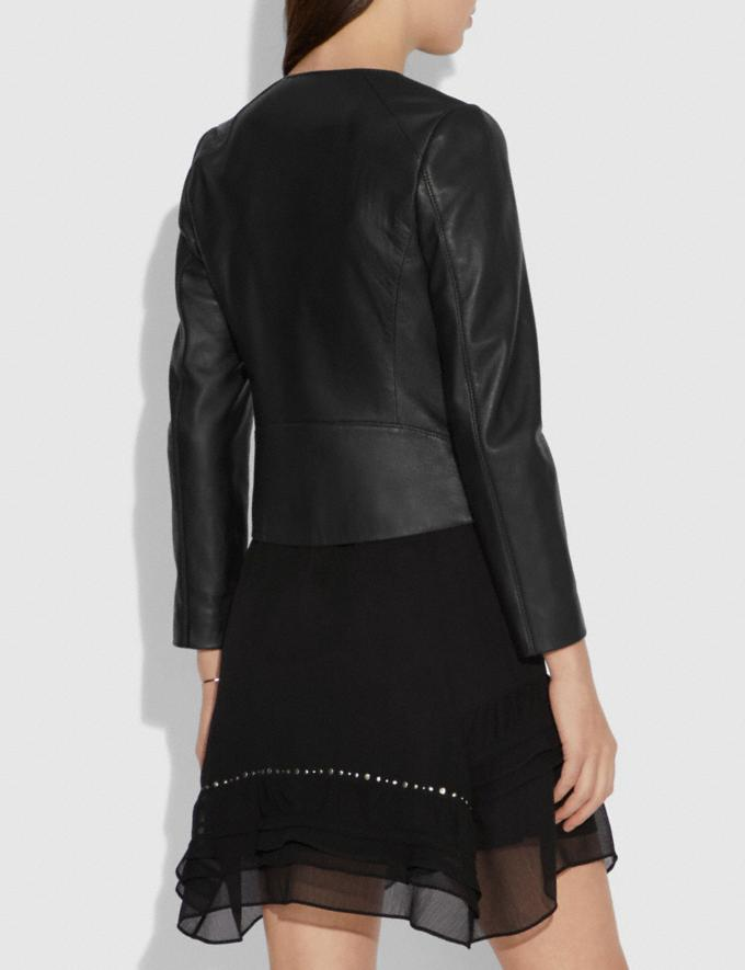 Coach Tailored Leather Jacket Black New Women's New Arrivals Ready-to-Wear Alternate View 2